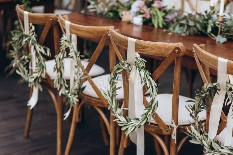 De lijst van het Bohohuwelijk voor een jonggehuwdebanket stock afbeelding