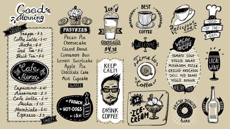 De lijst van het koffiemenu, hand getrokken krabbel grafische illustratie met gebakjes en dranken, van het veganistmenu, van de k royalty-vrije illustratie