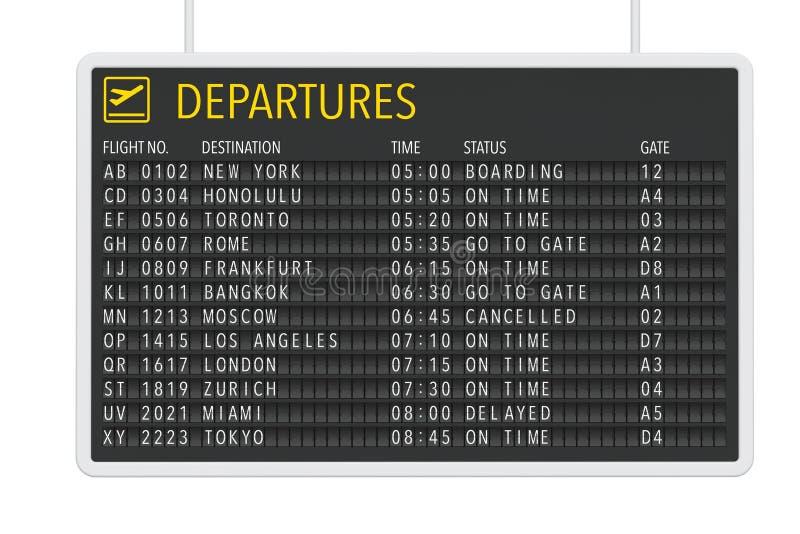De lijst van het luchthavenvertrek stock illustratie