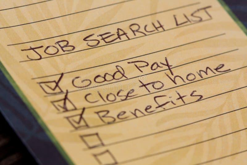 De Lijst van het Onderzoek van de baan stock fotografie