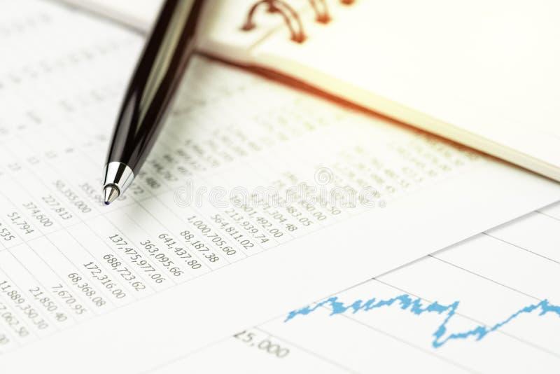De lijst van de investeringsmarktprijs, voorraden, banden of activawaarde analy stock afbeelding