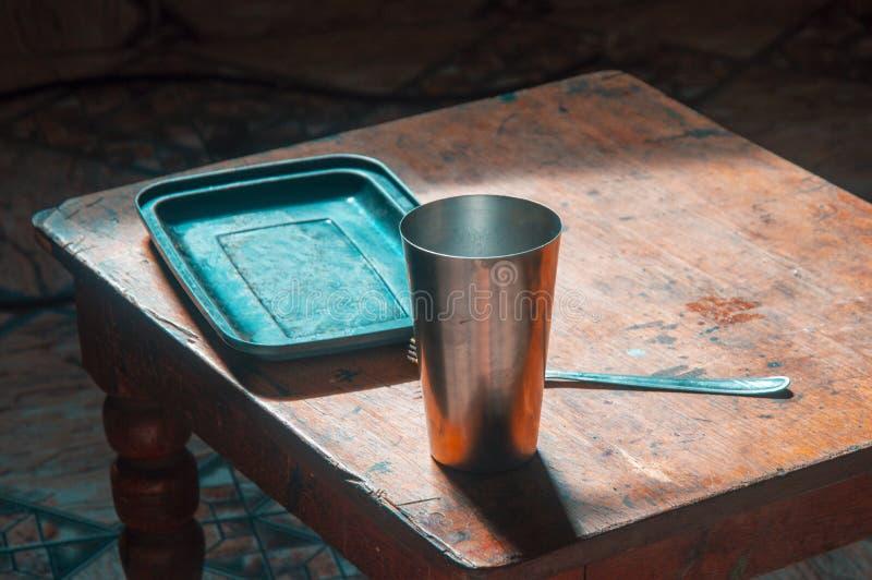 De lijst van de roestvrij staalkop, bar, koffie royalty-vrije stock afbeeldingen