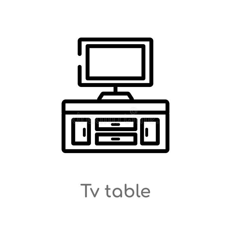de lijst vectorpictogram van overzichtstv de ge?soleerde zwarte eenvoudige illustratie van het lijnelement van meubilairconcept e stock illustratie