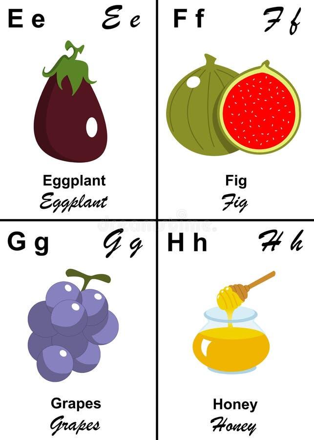 De lijstbrief van het alfabet van E aan H