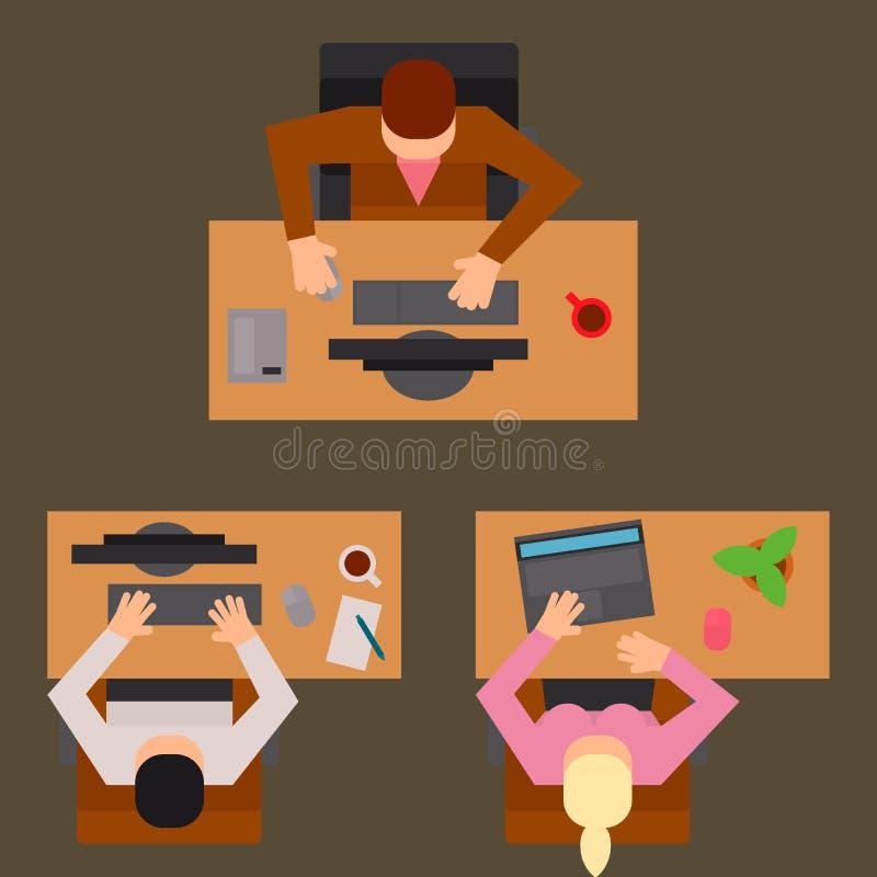 De lijsten de vector van het van het bedrijfs werkplaatsbureau van het het werkproces mensenteam van het het bureauconcept van de stock illustratie