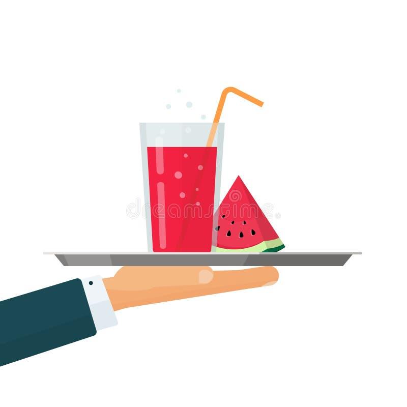 De limonade of de cocktail drinkt glas op dienblad vectorillustratie, vlak beeldverhaalontwerp of koude de zomerdrank met stock illustratie
