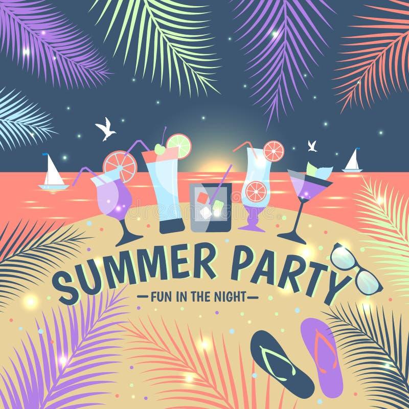 De limonade kleurrijke kaart van de de zomerpartij vector illustratie