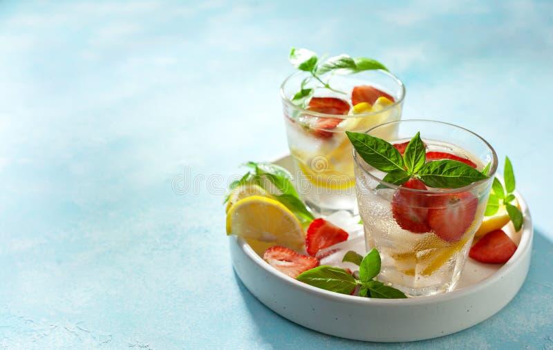 De limonade van het aardbeibasilicum stock foto's