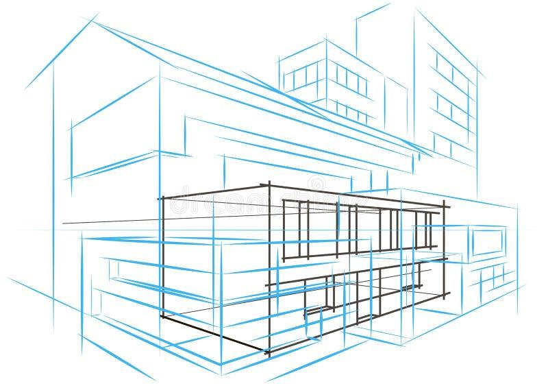 De lineaire architecturale abstracte bouw van het schetsconcept stock fotografie