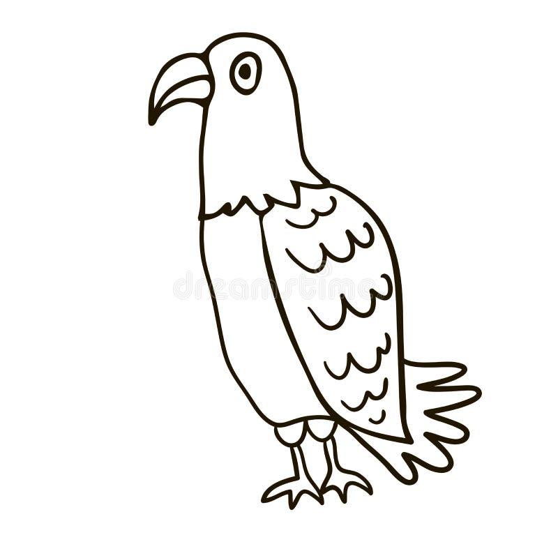 De lineaire geïsoleerde adelaar van de beeldverhaalkrabbel stock illustratie