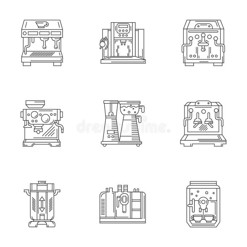De lineaire geplaatste pictogrammen van het koffiemateriaal vector illustratie