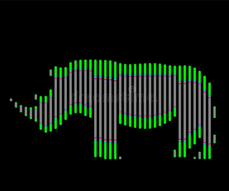 De lineaire illustratie van een rinocerosembleem stock illustratie