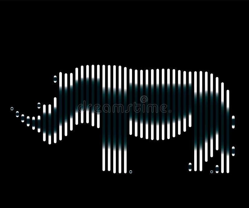 De lineaire illustratie van een rinocerosembleem royalty-vrije illustratie
