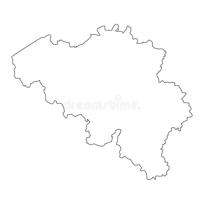De lineaire kaart van België op een witte achtergrond Vector illustratie royalty-vrije illustratie