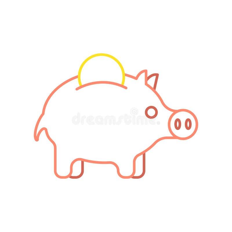 De lineaire stijl van het van het varkensspaarvarken en muntstuk Financiële illustratie Ac royalty-vrije illustratie