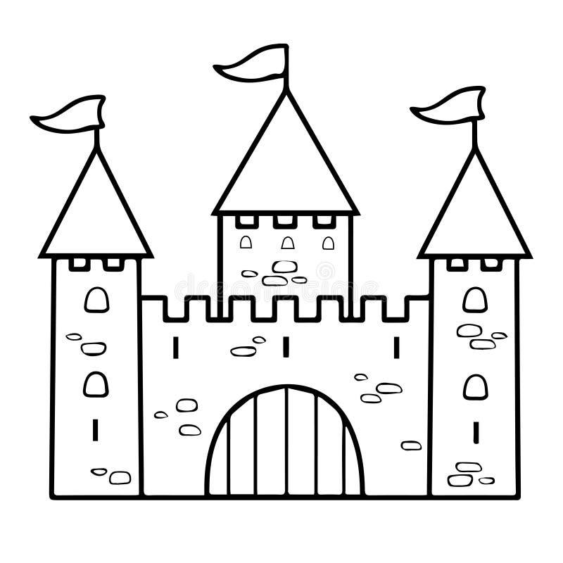 De lineaire tekening van het kasteelbeeldverhaal, kleuring, overzicht, contour, eenvoudige schets, zwart-witte vectorillustratie  stock illustratie