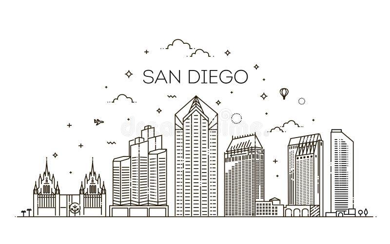 De lineaire van de de stadshorizon van San Diego vectorachtergrond stock illustratie