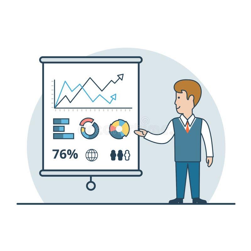 De lineaire Vlakke Bedrijfsmens toont rapportvector stock illustratie