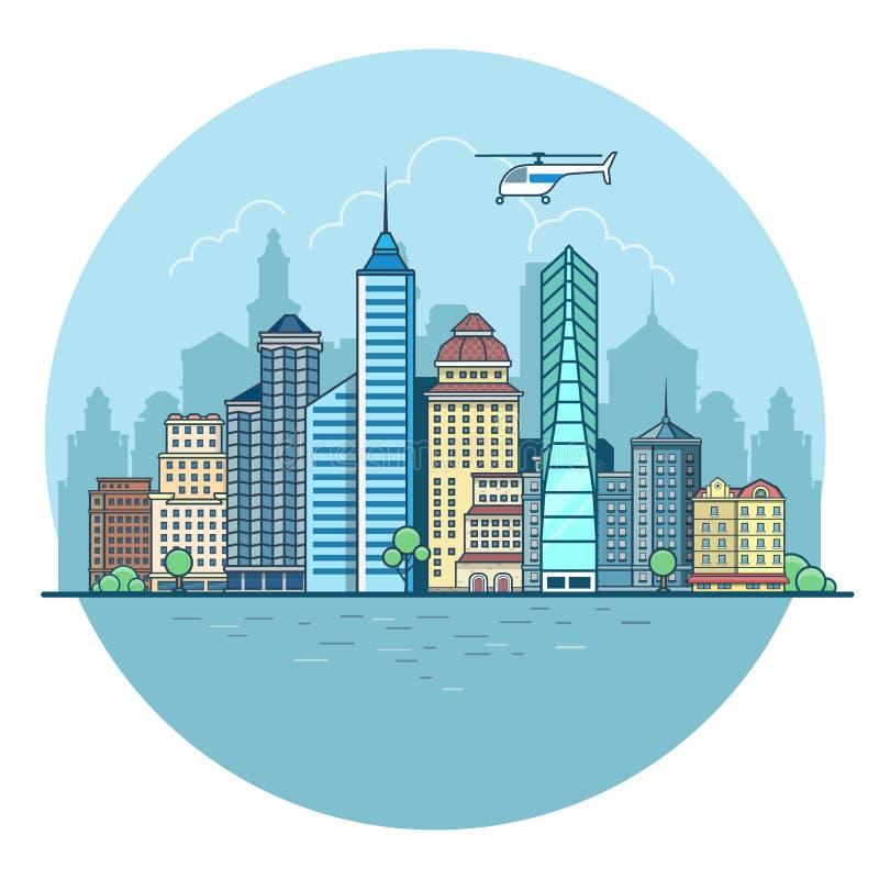 De lineaire Vlakke Stedelijke stadswolkenkrabbers huisvest water sk vector illustratie