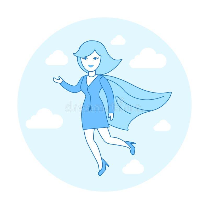 De lineaire Vlakke Superhero-het vliegen vector van de kostuum rode kaap royalty-vrije illustratie