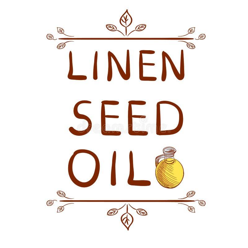` De linho do óleo de semente do ` e garrafa tirada mão com óleo Elemento tipográfico tirado Letras escritas do VETOR ilustração royalty free