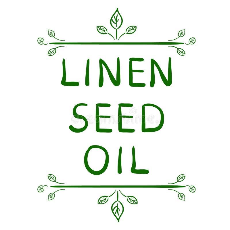 ` De linho do óleo de semente do ` Elemento tipográfico tirado mão Letras escritas mão do VETOR ilustração do vetor