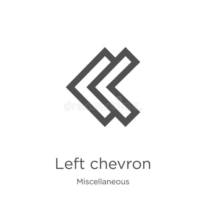 de linkervector van het chevronpictogram van diverse inzameling Dunne lijn verlaten het pictogram van het chevronoverzicht vector stock illustratie