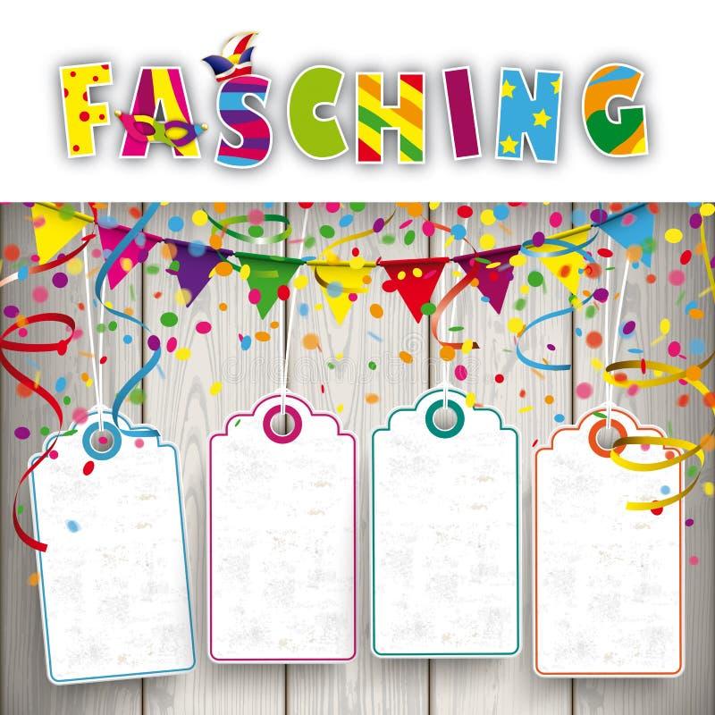 De Linten van Faschingsconfettien 4 Prijsstickers stock illustratie
