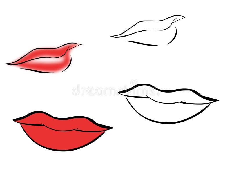 De lippen van de schets royalty-vrije illustratie