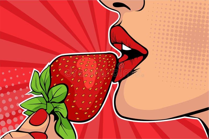 De lippen van pop-artmeisjes met aardbei Vrouw die gezond voedsel eet Erotische fantasie royalty-vrije illustratie