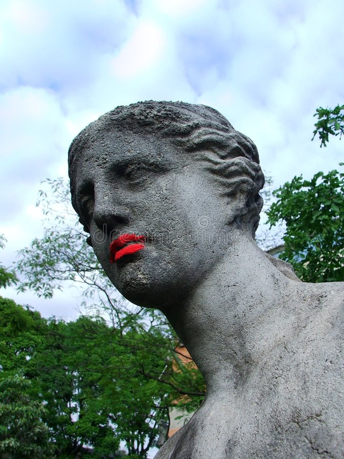 de lipstick芦粟红色金星 库存照片