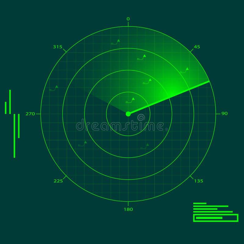 De localisatie van de radar stock illustratie
