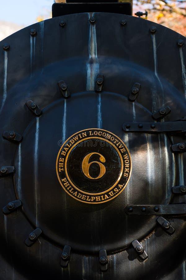 De locomotief van de Amerikaanse fabrikant Baldwin Locomotive Works stelde dichtbij het Skagit-Informatiecentrum tentoon, Newhale royalty-vrije stock foto's