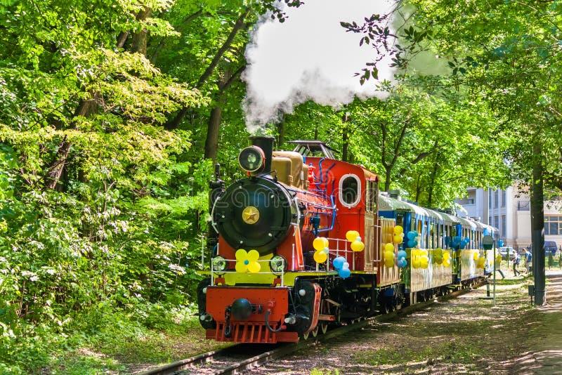 De locomotief van de stoom in Kiev stock fotografie