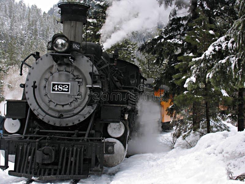 De locomotief van de stoom in sneeuw royalty-vrije stock foto's