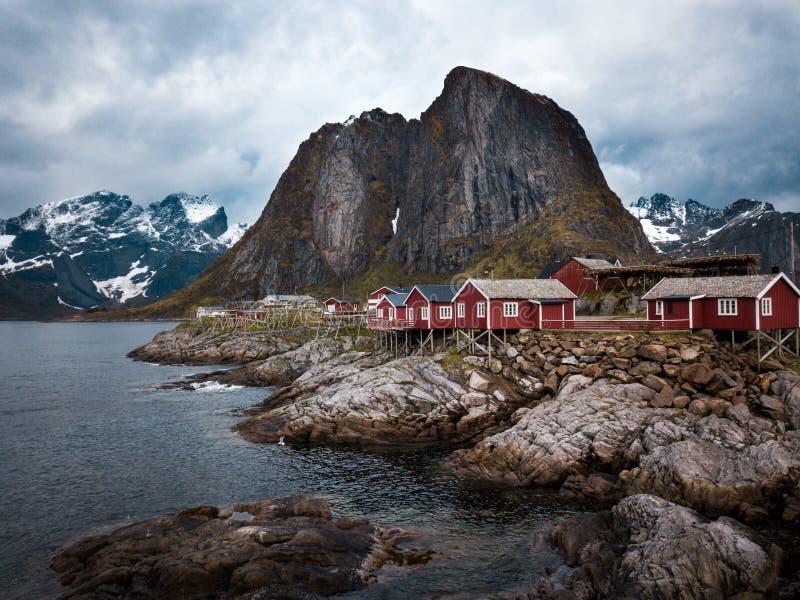 De Lofoteneilanden is een archipel in de provincie van Nordland, Noorwegen Is gekend voor een distinctief landschap met dramatisc stock afbeelding