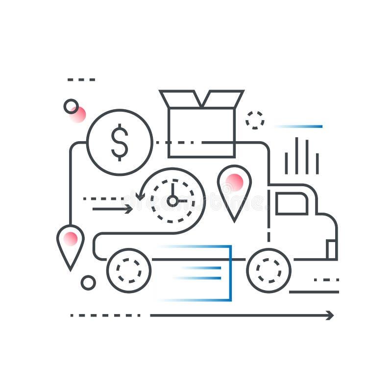 De in logistiek van de gradiëntlijn en vervoer, pakhuiscentrum, het concept van de goederenlevering royalty-vrije illustratie