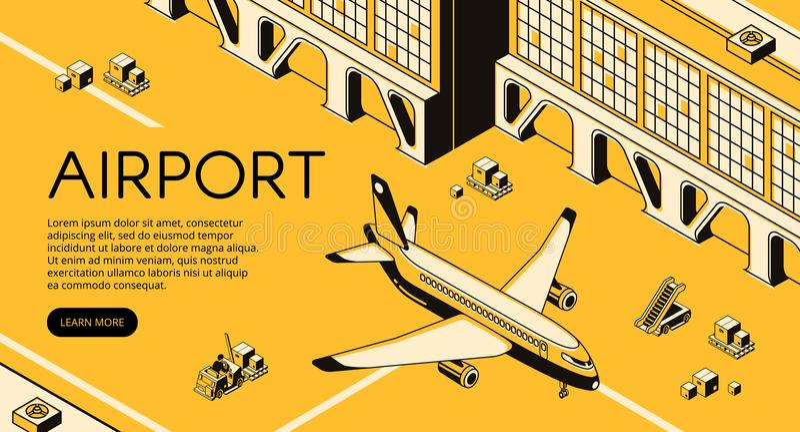 De logistiek vectorillustratie van de luchthavenvracht vector illustratie