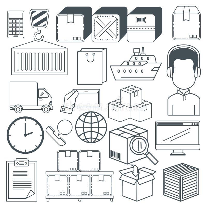 De logistische diensten geplaatst pictogrammen vector illustratie