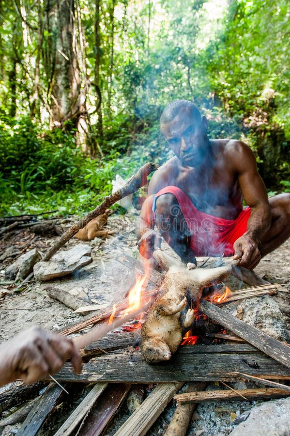 De lokale mens van het eiland Nieuw-Guinea heeft diner gevangen opossumcuscus stock afbeelding