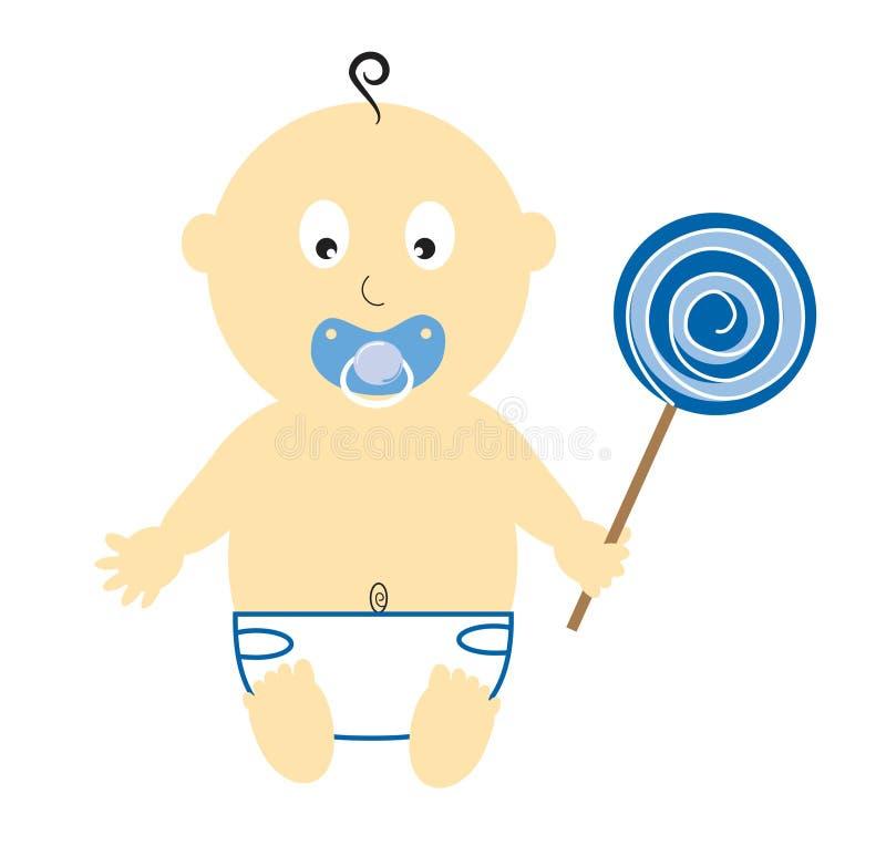 De Lolly van de Holding van de Jongen van de baby vector illustratie