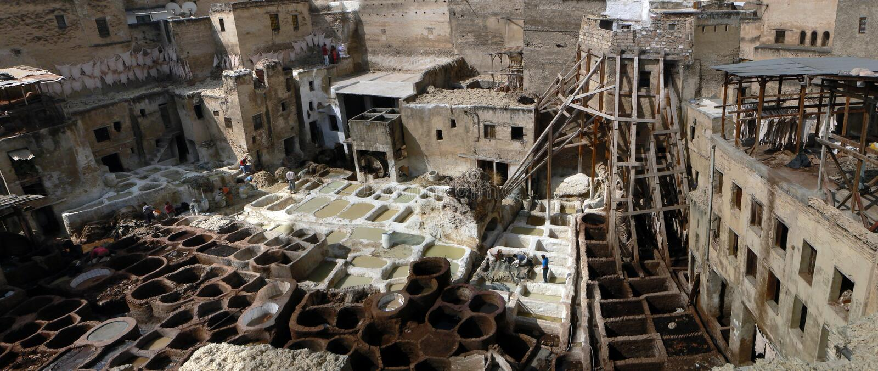 De looierijenpanorama van Fez royalty-vrije stock fotografie