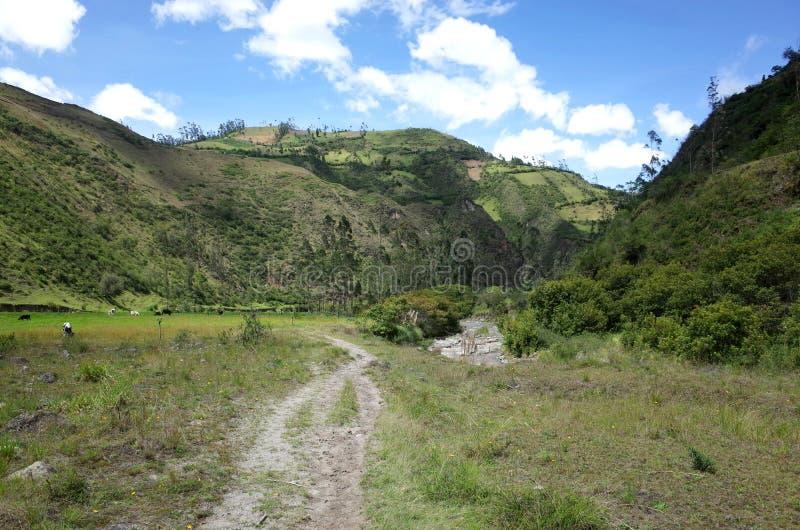 De looppas van Riviertoachi door de Ecuatoriaanse Andes stock afbeeldingen