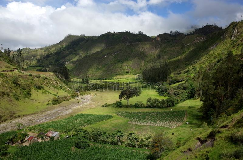 De looppas van Riviertoachi door de Ecuatoriaanse Andes stock foto's