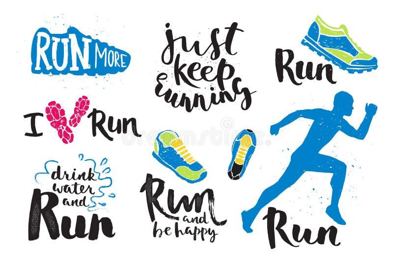 De lopende emblemen van de het embleemjogging van de mensenmarathon etiketteren en geschiktheid opleidings van de de sprintmotiva stock illustratie