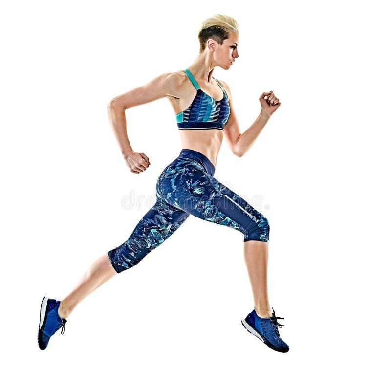 De lopende jogger jogging geïsoleerde witte achtergrond van de vrouwenagent stock foto