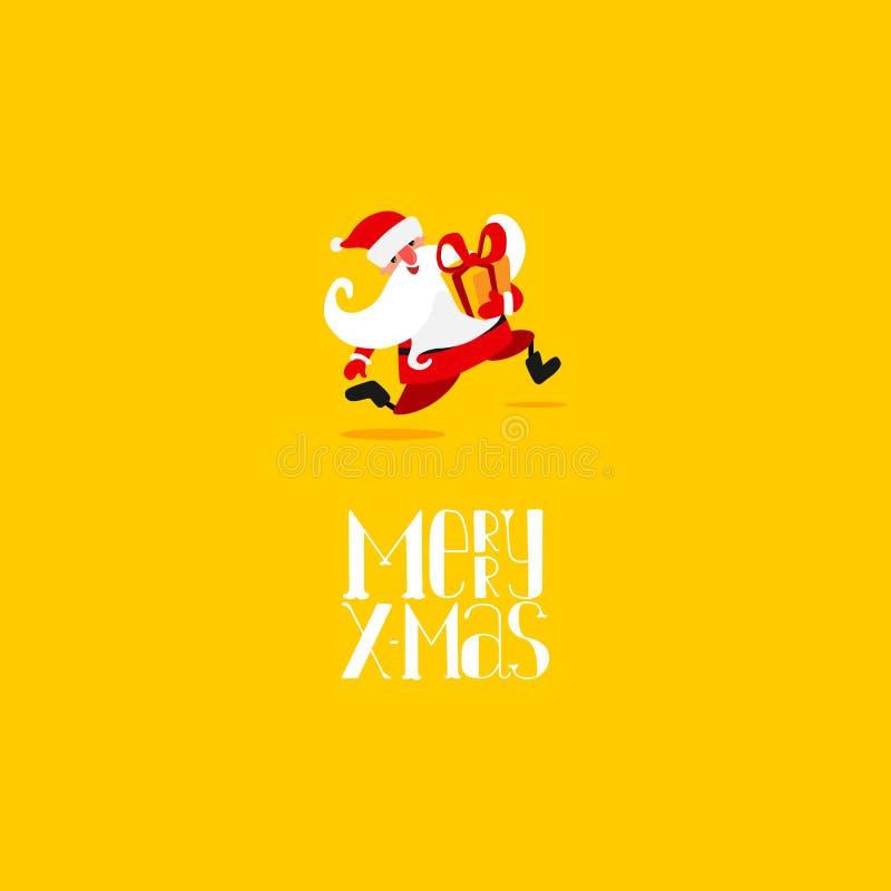 De lopende kaart van Kerstmissanta claus royalty-vrije illustratie