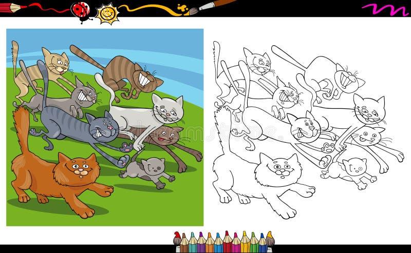De lopende kleurende pagina van het kattenbeeldverhaal stock illustratie