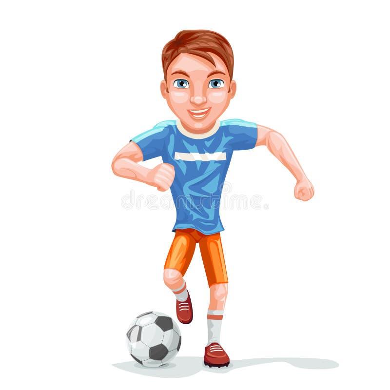 De lopende van het de balkarakter van het voetbalstervoetbal van het het beeldverhaalontwerp pictogram geïsoleerde vectorillustra stock illustratie