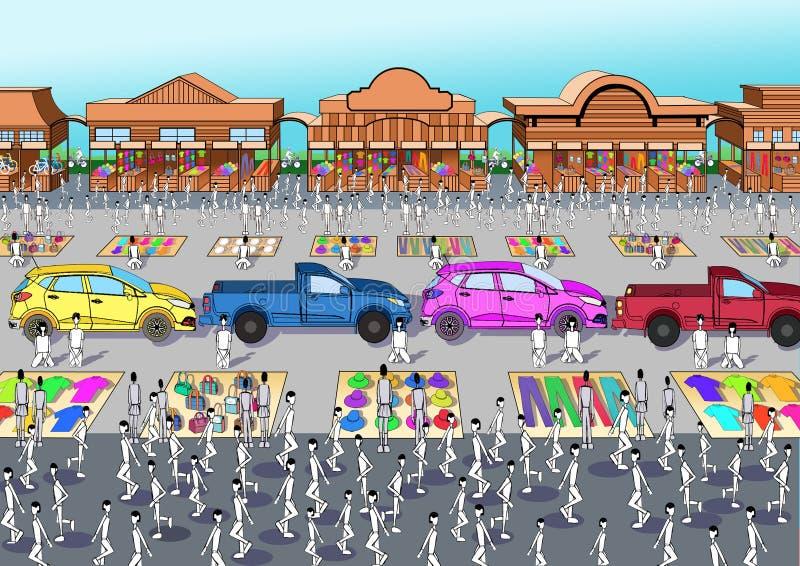 De lopende van de de marktmarkt van de Straatmarkt Commerciële westelijke cowboy stock illustratie